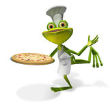 Frog chef with pizza Stock Images