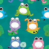 Frog Child Seamless Pattern. Illustration of cute frogs with child seamless pattern Stock Photography