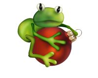 Frog on Christmas ball Stock Image