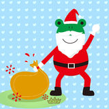 The frog Christmas grandpa Royalty Free Stock Image