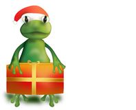 Frog with Christmas present Royalty Free Stock Images