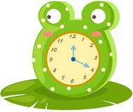Frog clock. Illustration of isolated frog clock on white Royalty Free Stock Photo