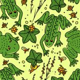 Frog and cloudberries pattern. Seamless vector pattern frogs and cloudberries Stock Photography