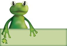 Frog with clover and empty board Royalty Free Stock Image