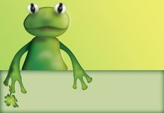 Frog with clover and empty board Royalty Free Stock Photography