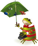 Frog the clown a parasol. And tropical small fishes royalty free illustration