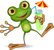 Frog and cocktail Royalty Free Stock Images