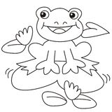 Frog-coloring. Coloring books for children. Frog sitting on a leaf Stock Photo
