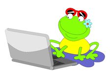 Frog with the comp Royalty Free Stock Images