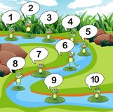 Frog count number at pond. Illustration royalty free illustration