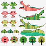 Frog and crocodile cute set Royalty Free Stock Photo