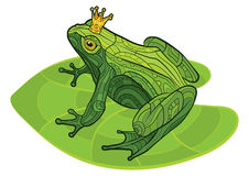 Frog with crown on the leaf Stock Photo