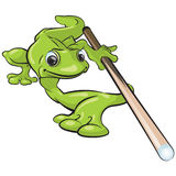 Frog with Cue Stick. Illustration of a frog holing a cue stick isolated on a white background Stock Image