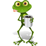 Frog with cup coffee Royalty Free Stock Photo
