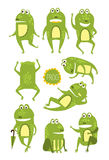 Frog Cute Character In Different Poses Childish Stickers Stock Image