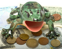 Frog on denominations. The ceramic frog sits on coins and banknotes Royalty Free Stock Photography