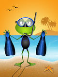 Frog with diving mask and fins. On the beach Stock Photo