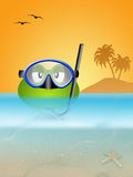 Frog with diving mask at sea Royalty Free Stock Photos