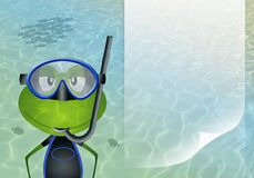 Frog with diving mask in the sea Stock Photos