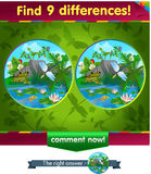 Frog, dragonfly 9 differences Royalty Free Stock Images