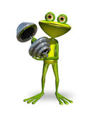 Frog with dumbbell Royalty Free Stock Photo