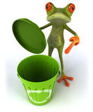 Frog with a dustbin Royalty Free Stock Image