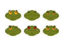 Frog emoji set. toad Avatar Good and evil amphibious. Sleeps and. Winks. Joy and sadness face reptile Royalty Free Stock Photo