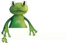 Frog and empty board Royalty Free Stock Photography