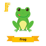 Frog. F letter. Cute children animal alphabet in vector. Funny c Stock Image