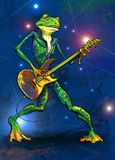 Frog fate guitarist cartoon. Cartoon frog playing on a electric guitar royalty free illustration