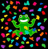 A frog festival under a shower of color Royalty Free Stock Photos