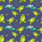 Frog and flies Royalty Free Stock Photos