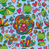 Frog flower line drawing seamless pattern Stock Photos