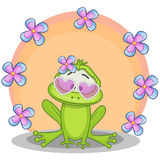 Frog with flowers Royalty Free Stock Photos