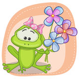 Frog with flowers Stock Image