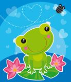 Frog and fly. Illustration of  frog and fly in love Royalty Free Stock Images