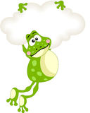 Frog flying with blank cloud Stock Photo
