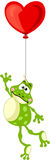 Frog flying with heart balloon Stock Photography