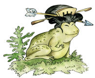 Frog - geisha. Cartoon character illustration of a frog - japanese geisha Royalty Free Stock Photography