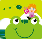 Frog Gift. A gift given to frog and tadpoles,Children's Illustration Royalty Free Stock Photography