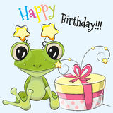 Frog with gift. Greeting card cute Cartoon frog with gift Stock Image