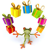 Frog and gifts. Cute little frog, 3D generated stock illustration