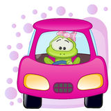 Frog girl in a car Stock Photography