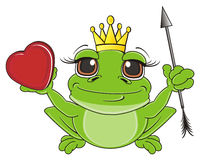 Frog girl hold  heart and arrow Royalty Free Stock Photos