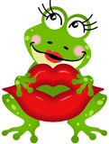 Frog girl holding lips Royalty Free Stock Photos