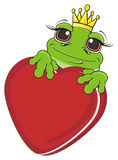 Frog girl with large heart Royalty Free Stock Photos