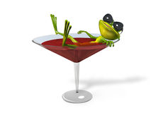 Frog in a glass of wine Royalty Free Stock Photos