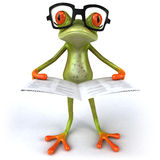 Frog with glasses. Cute little frog looking at the camera, 3D generated Royalty Free Stock Images