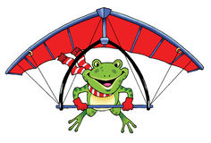 Frog glider. Figure flight tale humor Royalty Free Stock Photos