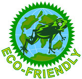 Frog and globe with Eco-friendly Stock Photography